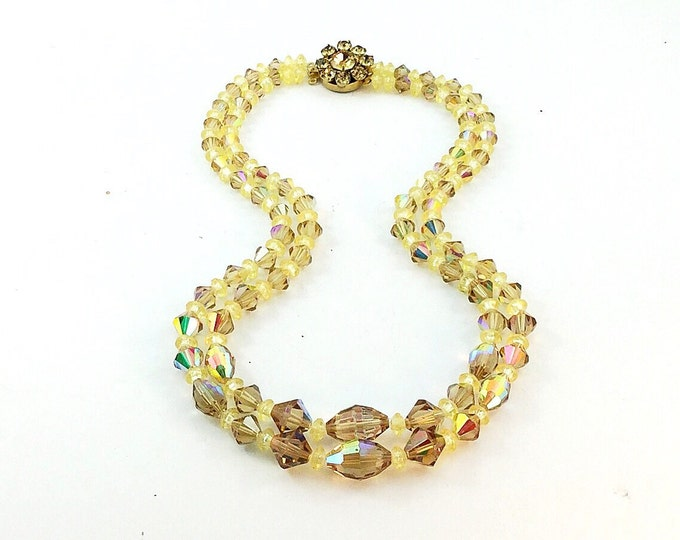 Wow Vintage Topaz Aurora Borealis Crystal Glass Beaded Necklace with rhinestones. Double Strand Crystal Necklace, Honey Brown Crystals.