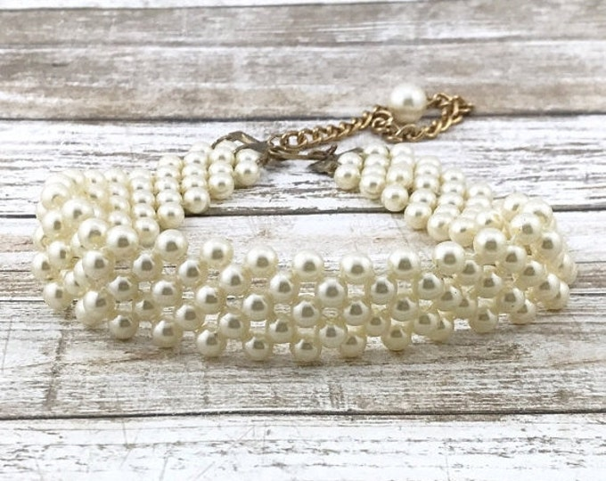 50% OFF Creamy White Vintage Faux Pearl Choker, Weaved Bead Bridal Necklace White Choker Wedding pearls, vintage pearls. Thick pearl necklac