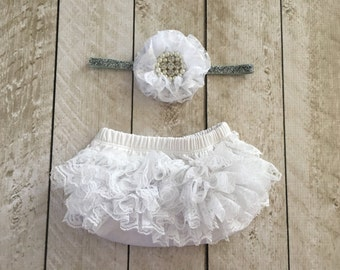 Baby Girl Ruffle Bottom Lace Bloomer & Headband Set in White - Newborn Photo Set - Infant Bloomers - Diaper Cover - by Couture Flower
