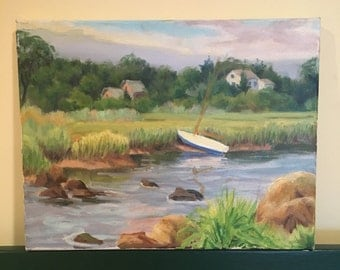 Original Painting on Canvas Sailboat Summers Day Scene Unsigned Amateur Art