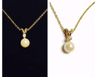 Vintage Pearl Pendant/Matching Necklace, Clear Rhinestone, Gold Tone, Clearance SALE, Item No. B338