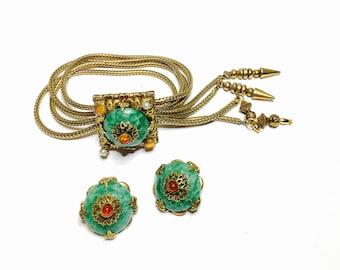 Antique Demi Parure Earrings & Bracelet set, Peking Glass, Gold Tone, Rhinestones, Item No. B374