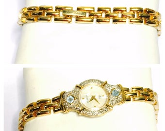 Vintage Geneva Wrist Watch, semi precious stones, gold Tone band, Clearance Sale, Item No. B200