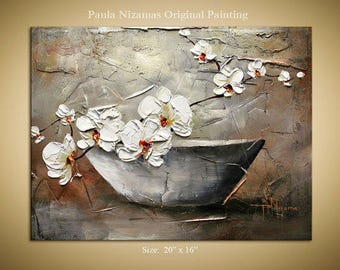 Oil Palette Knife texture painting on canvas Orchid , luxury looks, Paula Nizamas