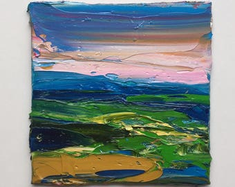 """Original small oil painting, contemporary landscape, abstract painting, 4"""" x 4"""" impasto, all prima, sky fine art."""