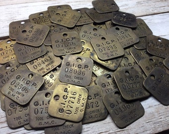Vintage Brass Tag General Motors GMC Chevy Chevrolet Tool Check Plant Car Truck Auto Metal Number Tag Industrial Keychain Stocking Stuffer