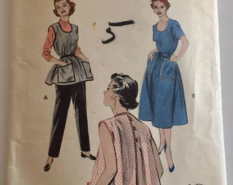 "Vintage 1950s Butterick Misses' Apron House Dress Pattern 7052 Size 16 (34"" Bust)"