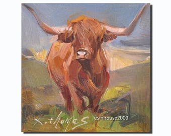 Western Highland cow portrait Original oil Painting  on canvas panel 15CMX15CM