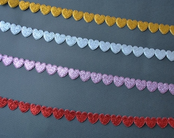 Glittery heart trim, choose your colour, 3m (3.3yard)