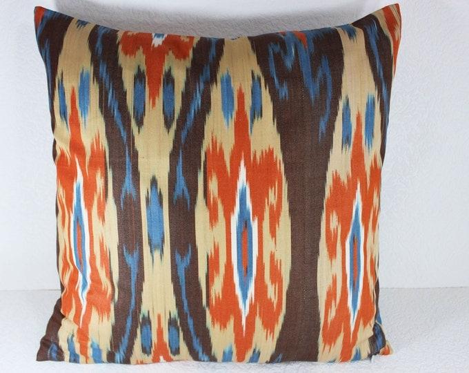 Cotton Ikat Pillow, Ikat Pillow Cover,  C147, Ikat throw pillows, Designer pillows, Decorative pillows, Accent pillows