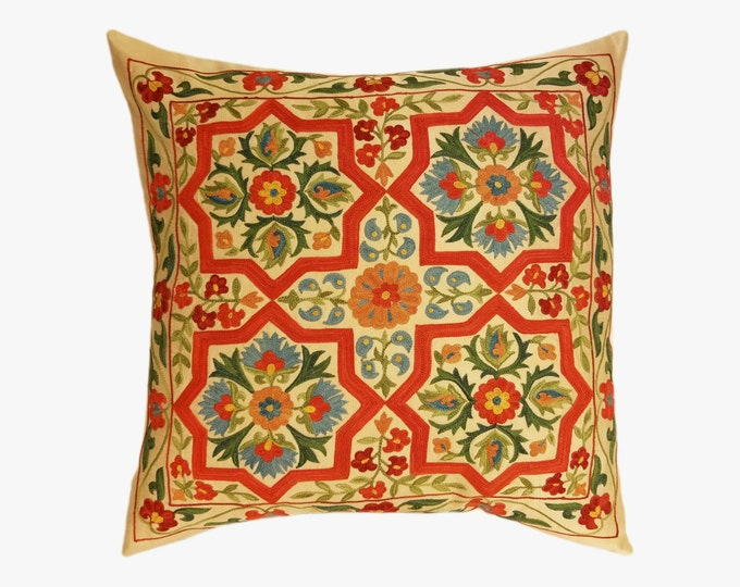 Hand Embroidered Suzani Pillow Cover SP7-01, Suzani Pillow, Uzbek Suzani, Suzani Throw, Boho Pillow, Decorative Pillows, Accent Pillows