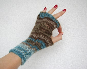 Fingerless crochet gloves, turquoise brown warm mitts, winter fashion, warm womens teens mittens made to order