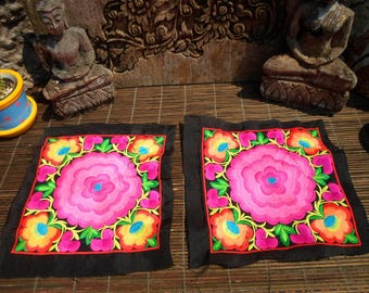 Hmong Embroidered Textile, Set Of 2 Machine Embroidered Textile