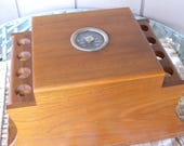 Vintage Wood Pipe Stand and Humidor 8  Pipe Wooden Holder and Tobacco Storage