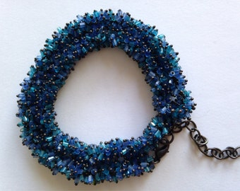 Faceted cut glass beaded necklace