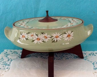 Taylor Smith & Taylor - Lazy Daisy - Casserole - 1960s - ceramic ironware - Teak Stand - Oven  Proof - replace piece or Hostess Gift!