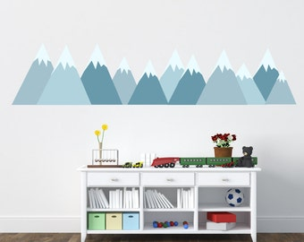 Mountains Decal, Mountain Scene Decal, Kids Wall Decals Ecofriendly No Toxins No PVCs Decals, WD900