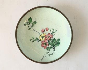 Vintage Chinese Enamel Dish, Cherry Design, Ships Free