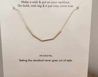 Delicate dainty 14k Bars Necklace, 3 tiny gold bars and 1 sterling bar threaded 14k chain, CLASSIC card, bridesmaid gift