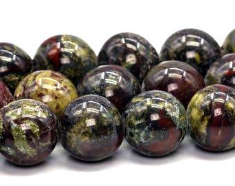 "10MM Dragon Blood Jasper Natural Gemstone Full Strand Round Loose Beads 14.5"" BULK LOT 1,3,5,10 and 50 (101761-413)"