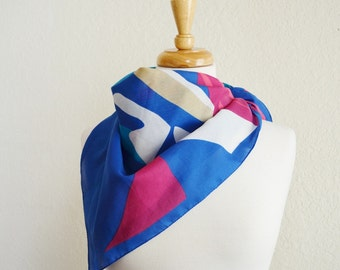Vintage Abstract Print Scarf Blue Teal Red Pink Beige White Swirls Large Square