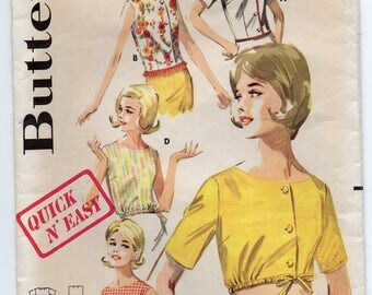 Shallow Necked Blouse Sleeveless Short Sleeves Optional Drawstring At Waist Size 14 Used Vintage Sewing Pattern Butterick 2712