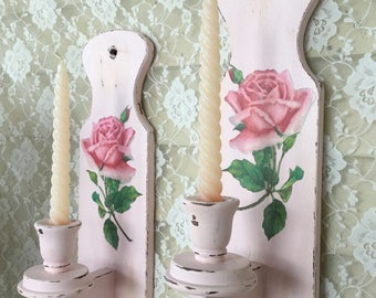 Shabby Candle sconces. Pink candleholder, shabby cottage chic, pink roses, romantic lighting, chippy distressed paint, fanny Pippin
