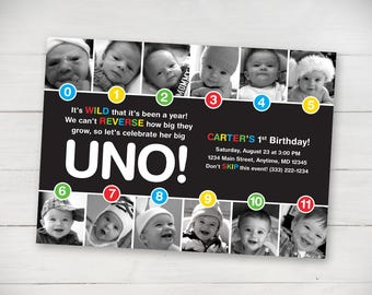 UNO Timeline First Birthday Invitation