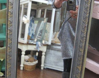 Vintage Shabby Chic Mirror Silver Chic Farmhouse Primitive Prairie