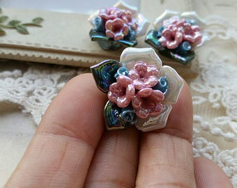 22 mm (Two Holes ) and Flat Back Glazed flower Porcelain Roses  (t.h)