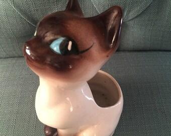 Vintage Siamese Cat Vase - Mid Century Home 1950s 1960s Ceramics