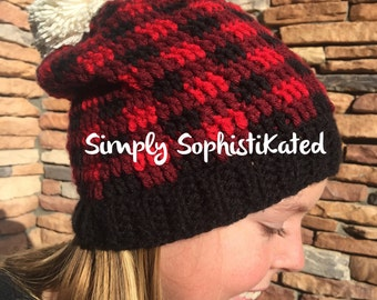 Plaid Crochet Hat