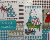 Kawaii fabric - Japanese fabric - Cotton linen fabric - Fabrics Magnolia - Patchwork print - Sewing goat 1 yard 4 color options