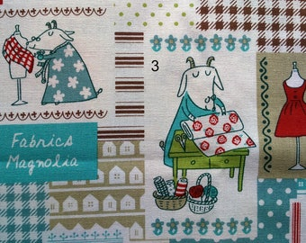 Kawaii fabric Japanese fabric Cotton linen fabric Fabrics Magnolia Patchwork print Sewing goat 1 yard 4 color options
