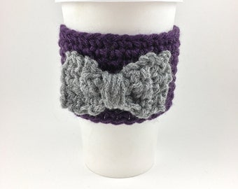 Re-useable drink sleeve with bow--coffee sleeve