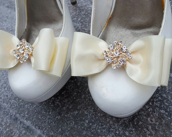 Wedding Shoe Clips, Satin Bow Shoe Clips, Bridal Shoe Clips for Shoes, ivory shoes clips, shoes clip, womens gifts, teens, girls, gift