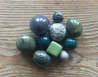 Beads destash / ceramic beads / bag of beads / beads lot / green beads / clearance / jewelry beads