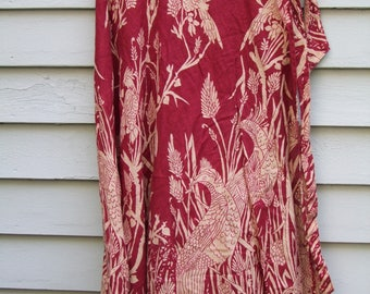 Vintage Hippie Wrap skirt in burgundy and beige ala 1960s