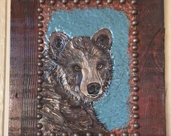 Rustic Wood Brown Bear Wall Hanging, Copper, Cabin Wall Hanging, Repurposed Old Wood