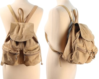 Suede Backpack 70s Medium Size Real Suede Leather Beige Distressed Pack Bag Pockets Vintage European Quality Rucksack Soft Leather Knapsack