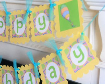 Happy Birthday Green Yellow & Turquoise Oh The Places You'll Go Banner - Cupcake Toppers, Favor Tags Door Sign Available