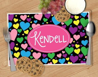 Heart Kids Personalized Placemat, Customized Placemats for kids, Kids Placemat, Personalized Kids Gift