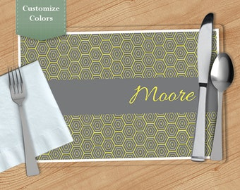 Honeycomb -  Personalized Placemat, Customized Placemats, Custom Placemat, Personalized Gift