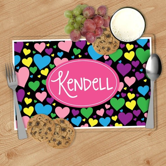 heart kids personalized placemat customized placemats for kids