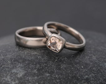 Morganite Ring Set in 18K White Gold White Gold Morganite Wedding Set Cushion Cut Morganite Engagement Ring with Matching Band Made to Order
