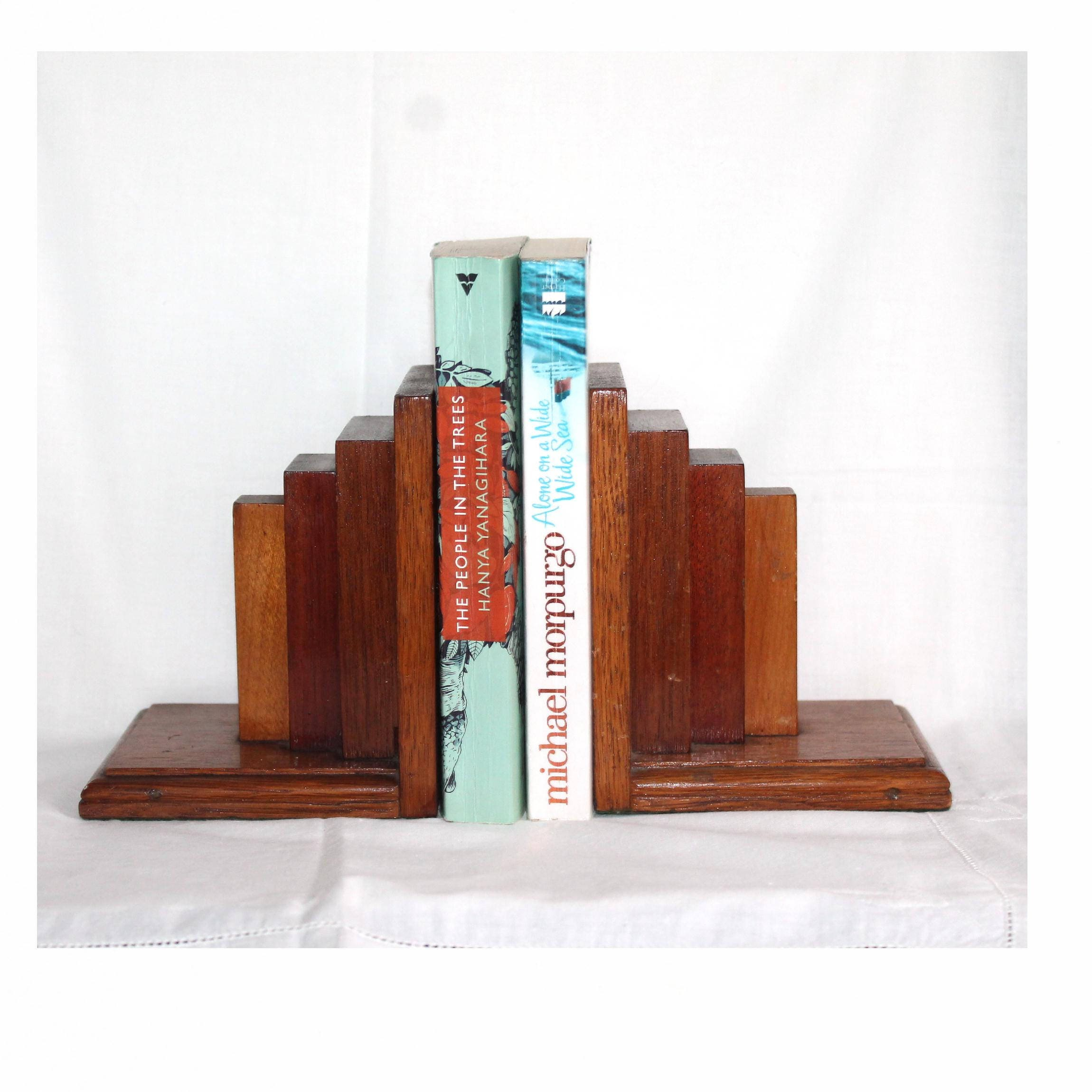 Art Deco Bookends Oak Bookends Book Storage