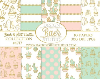 Cactus Digital Paper:Blush and Mint Digital Paper, Gold and Pink Cactus Digital Paper, Succulent Digital Paper, Digital Paper Summer