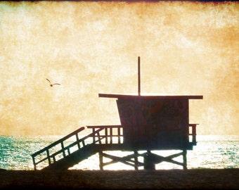 Sunset on the beach, lifeguard tower southern california, vintage style, palos verdes,Torrance Redondo Hermosa beaches card #D4486
