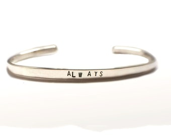Always, Harry Potter Bracelet, Severus Snape, Hand stamped thin cuff, Harry Potter Jewelry, After All This Time, Potterhead, Always