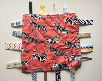 Zebras Tag Blanket with your choice of Minky //  In Stock, READY TO SHIP
